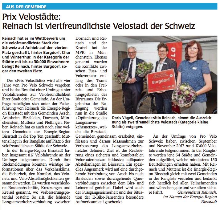 Doris Vögeli - Wochenblatt 10.05.18